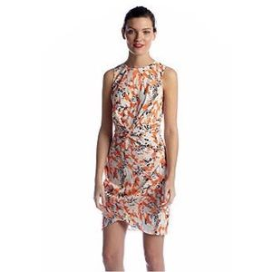 DKNYC Orange Floral Faux Wrap Knot Dress Size 6